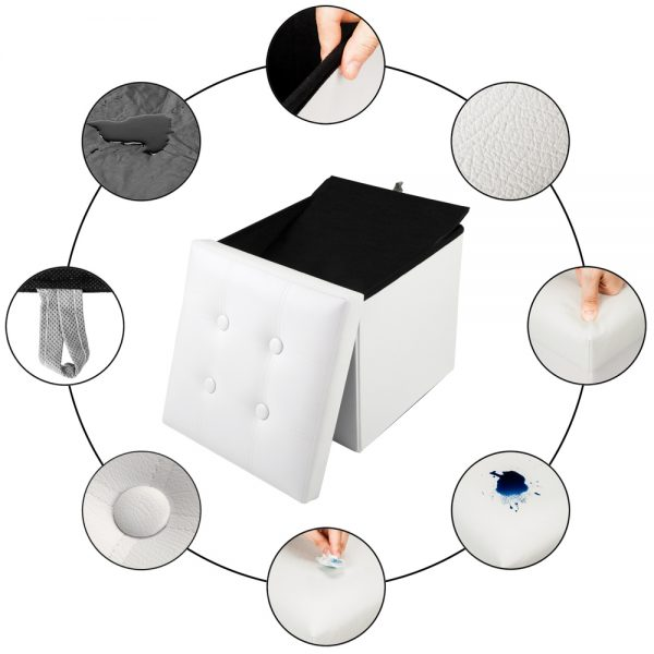 Leather Square Shape Storage Ottoman Concave Surface White
