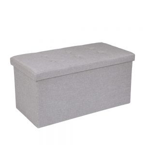Hessian Rectangle Shape Surface with Leather Button Footstool