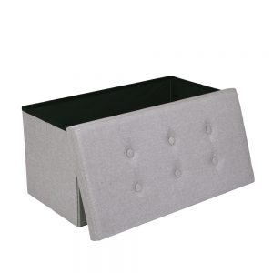 Hessian Rectangle Shape Surface with Leather Button Footstool White