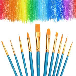 Face Painting Brushes Round Flat Tip Artist Paint Drawing Brush